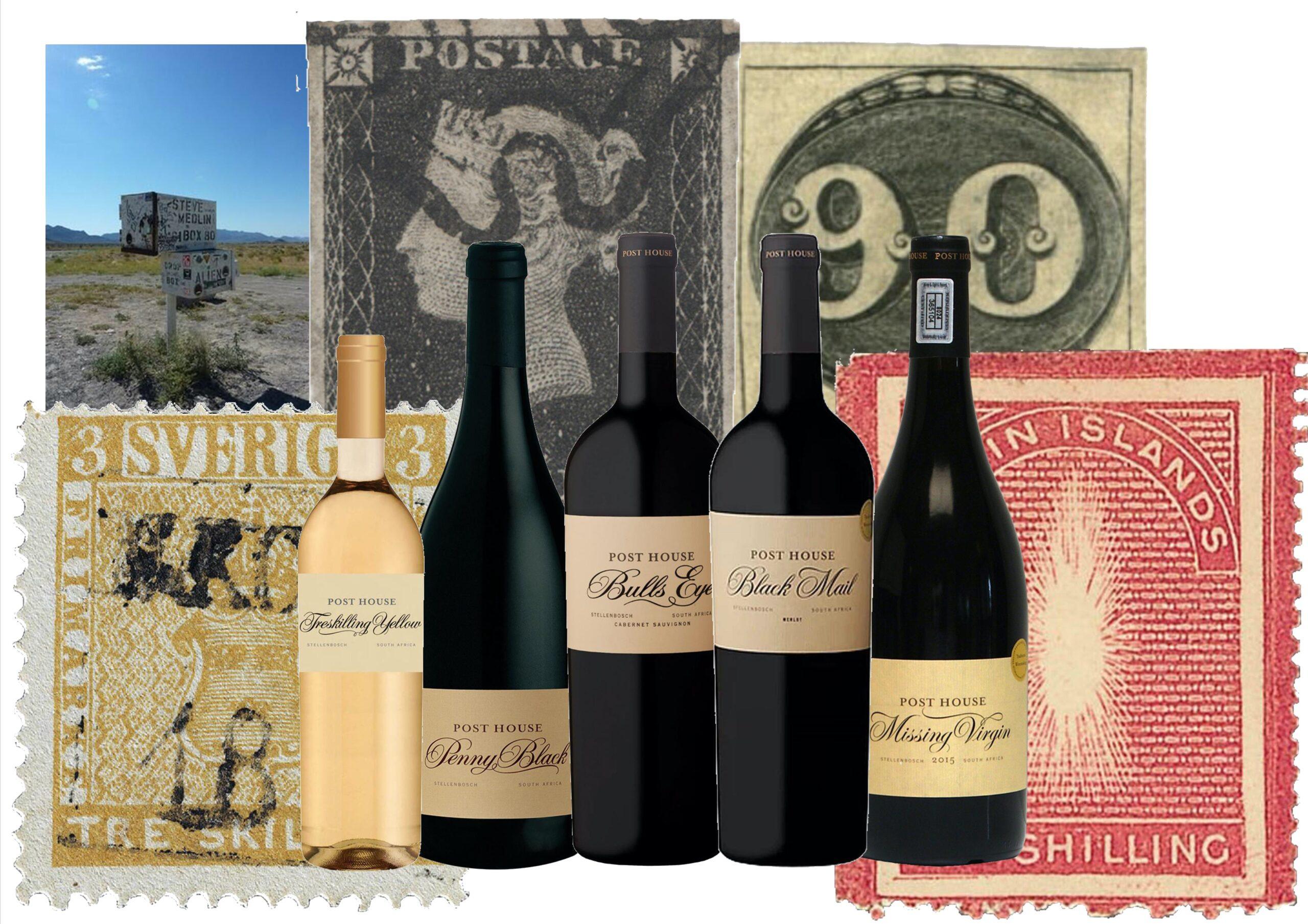 Viner från Sydafrika efter berömda frimärken