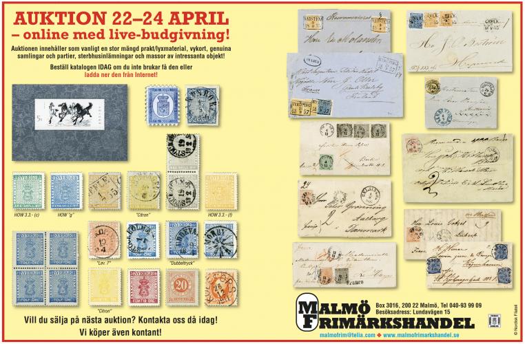 Malmö Frimärkshandel - Auktion 22-24 april
